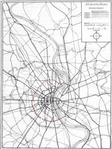 Straßennetz aus Fritz Schumachers Plan für Köln 1923; rot der Gürtel