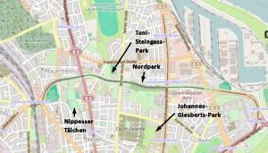 Der Nippesser Grüngürtel  (Karte openstreetmap)